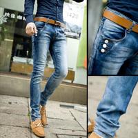 Denim jeans Skinny Fashion Color block Button design Korean style.Casual.Men's.Drop shipping.1 Piece.2014 New