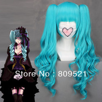 FREE SHIRRIN 65cmX Long Vocaloid miku Blue Anime Cosplay wig+2Clip On Ponytail COS-044B