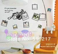 free ship 39 pcs photo frame camera third generations sticker removable bedroom living room TV backdrop wall stickers