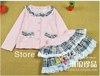 2013 new children's clothing,Girls' Suits Girl's 3 pieces suits Girl's Cardigan outerwear+ Tutu skirt 5set/lot pink