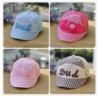 Free shipping 2013 new summer baby girls boys visors breathable mesh cap infant plaid cotton baseball hat casual