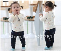 2012 new Hit the color of children's clothing wholesale -POLO long-sleeved suit - Unisex youngster suit 3set/lot