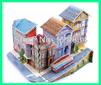 The 3d paper model/puzzle of building around the avenue, good for hands-on ability and education