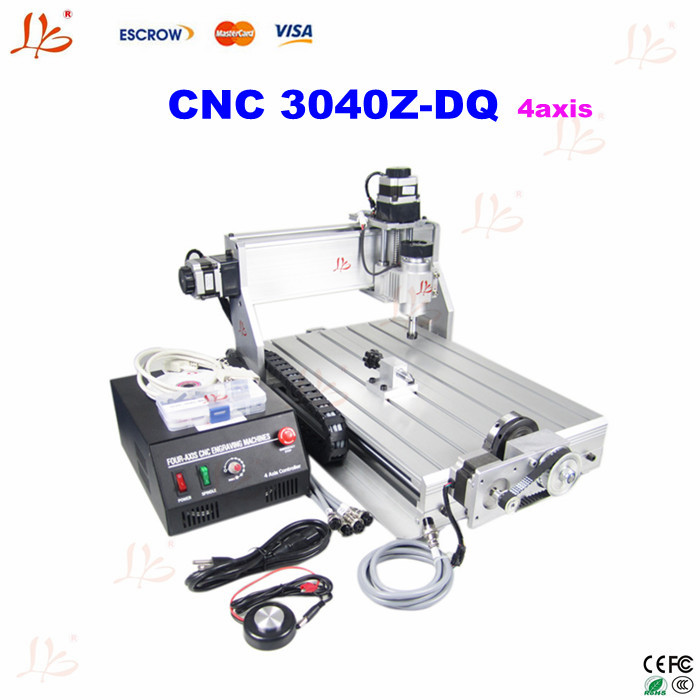 Free shipping original 4 axis cnc 3040Z-DQ engraving router with Ball Screw Design 3d cnc, 3d work(China (Mainland))