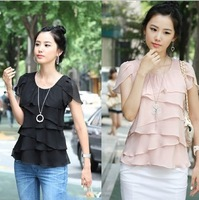 Brief Style Women Chiffon Blouses Round Neck Short Sleeve Singlets Solid Color Rullfed Shirts White/Pink