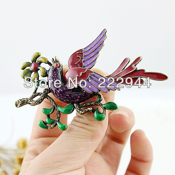 Charming graceful vintage fashion enamel bird tree and flowers brooch free shipping(China (Mainland))