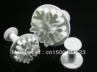 wholesale 20 sets of 3pcs new snowflake plunger cutter for fondant cake decoration