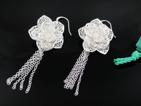 Min.order is $15(mix order) Free shipping Promotion fashion earrings popular gift rose flowers 925 sterling Silver  a42