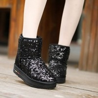 freeshipping Single fashion paillette fashion thickening snow  platform boots female Women low  flats