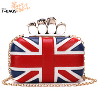 2013 mcqueen flag cowhide skull ring bag day clutch bag small female bags