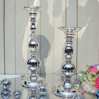 Distributor discount100% metal plating silver wedding decorative vases or candle stand wedding props