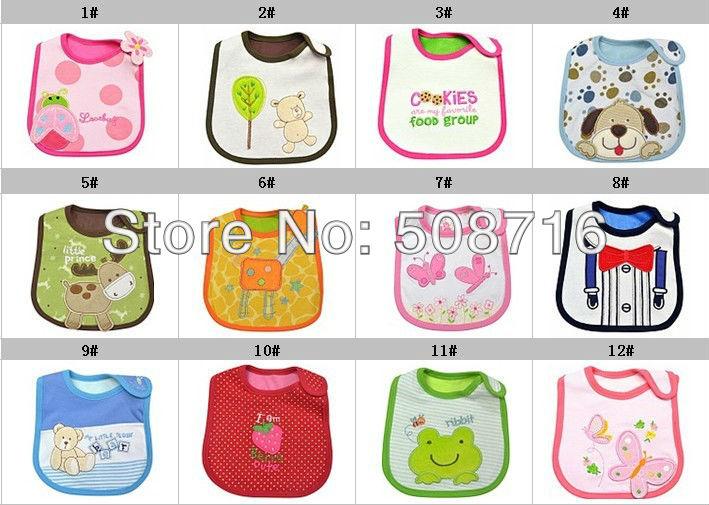 hot selling!High-quality 2013NEW /lot bib\cotton bib\cartoon design bib\ waterproof bibs,mix many designs(China (Mainland))
