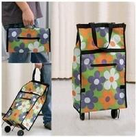 Folding shopping bag shopping cart shopping bag wheels car logo