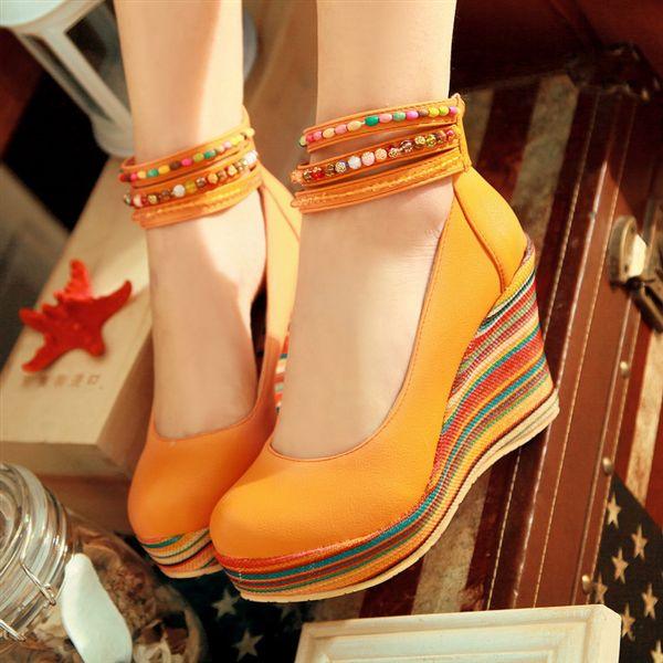 2013 spring single shoes female shoes high heel wedges belt beige yellow orange fx(China (Mainland))