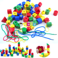 Free shipping 50 color shape bead toys child wooden beads educational toys bead 1 - 2 - 3 baby  wholesale
