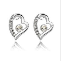 Free Shipping White Gold Plated Heart Earrings, Make With Austria Elements,Crystal Earrings (50pair/lot) Wholesale