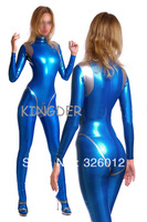 New arrival blue latex catsuit sexy bodysuits costume with back zipper under crotch for adult