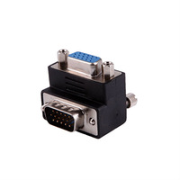 Right Angled 90 Degree 15pin VGA Male to VGA Female Adapter For TV Free Shipping