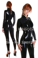 Black rubber catsuit sexy costume with front zipper under crotch for adult