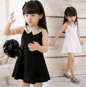 White black fashion kids girl lace princess party summer dress with paillette collar 2013 5pcs/lot wholesale