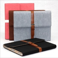 Free shipping Luxury Button Belt Smart Stand Leather Case Cover For iPad 2/3 with sleep function
