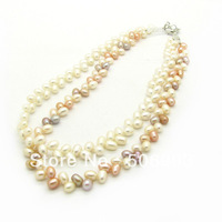 Factory direct sale 42cm Fashion  freshwater beads necklace Wholesale Jewellery necklace  High Grade!  Free Shipping HB670
