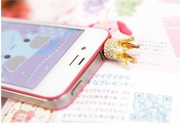 Min Order$10(mix order)Free Shipping! Korean mobile phone plug Apple mobile phone dustproof plug crown section