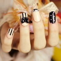 2013 hot new 24pcs Cute bow princess style False Nails Art Tips Fashion Artificial false nails patch Free shipping