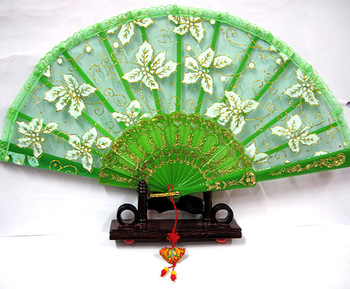 Print lace fan fabric technology folding fan dance fan young girl raw silk fan dance green blue red and white