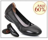 2013 women Cowhide flat heel shoes comfortable soft outsole flat round toe  women's work shoe genuine leather black handmade