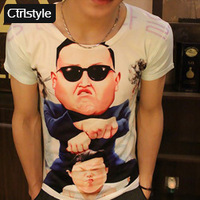 Ctrlstyle man clothes les t-shirt fashion bird print short-sleeve men's clothing slim t-shirt short-sleeve mens tees