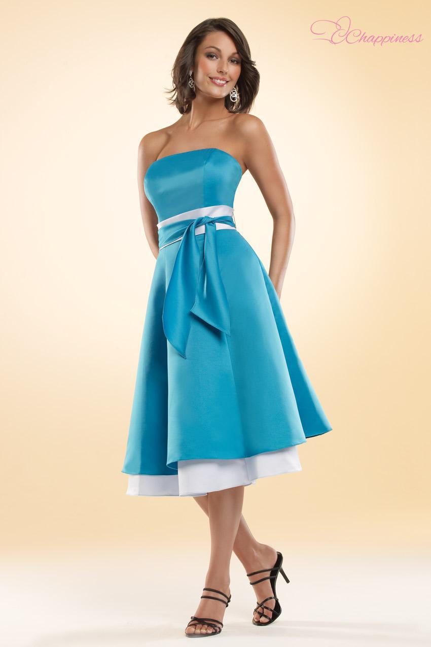 Free Shipping Tea length satin two color bridesmaid dress under $100(Eden Maid christmas party dresses(China (Mainland))