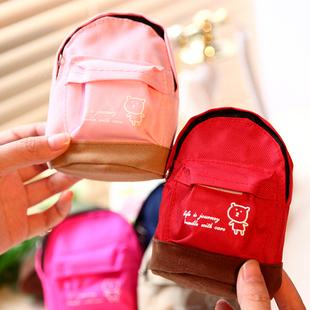 5182 mini school bag coin purse belt hasp key wallet storage bag
