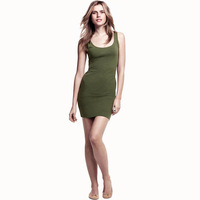Hot sale!!! Free Shipping 2013 Fashion Army Green military wind slim tank dress tight-fitting high-elastic hm6 new  Shirt Women