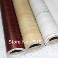0.45(w)*10(length)m/roll wood grain wallpaper self adhesive vinyl wallpaper roll modern (white/yellow/dark red) free shipping