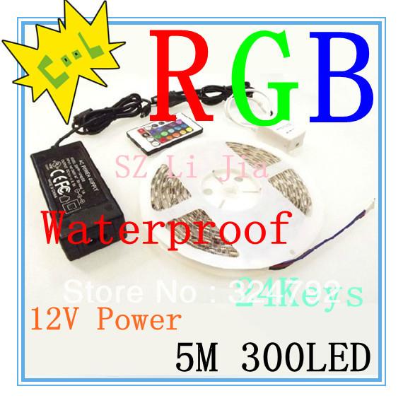 LED 24 key IR Remote +5050 RGB 300 waterproof LED Light Strip 60 PCS/M +12V 6A Power Supply ,2pcs led Flexible strip light(China (Mainland))