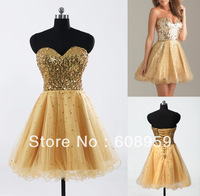 2013 Hot Wholesale Tulle 8th Grade College Sequined Pleat Short Gold Mini Graduation Homecoming Gowns Dresses For High School