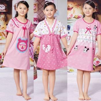 Big boy summer 100% cotton girls clothing cartoon heart short-sleeve nightgown child sleepwear lounge