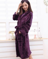 autumn & winter Lady's thick sleepwear coral fleece heart pattern ladies' long-sleeve robe bathrobes pajamas set