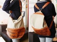 New Korean Style Lady Girl Canvas PU Leather Hobo Backpack Satchel Shoulder Bag