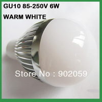 Free Shipping  Globe Bulb !! 6W GU10 LED bulb Light LED lamp 85V-265V  warm/cool  WHITE 10pcs/lot