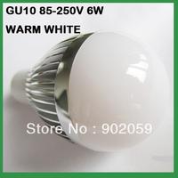 Free Shipping  Globe Bulb !! 6W GU10 LED bulb Light LED lamp 85V-265V  warm/cool  WHITE 10pcs/lot
