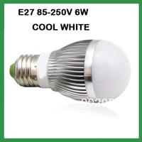 Free Shipping Globe Bulb !! 6W E27  LED bulb Light LED lamp 85V-265V  warm/cool  WHITE 10pcs/lot