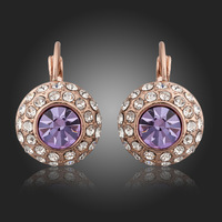 E335  Wholesale 925 silver earrings, 925 silver fashion jewelry, Austrian Crystal 8k, Plated Gold  Women ,zircon,