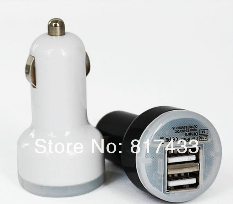 50pcs New 2 Port Dual USB Car Charger Adapter for iPhone 5 4 4s iPod ipad Samsung Galaxy S3 Note 2 Mobile Phone Accessories(China (Mainland))
