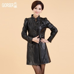 2013 spring new arrival sheepskin genuine leather coat leather trench women's slim outerwear(China (Mainland))