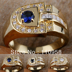Men D-shape Clear White Topaz CZ Black Onyx Blue Sapphire 18K Gold Filled Ring R114 GFLM Size 9 10 11 J8188 Free shipping(China (Mainland))