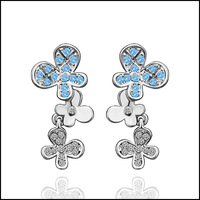Flower 18K Platinum Plated Earrings Nickel Free K Golden Jewelry Plating Platinum Stud Earrings RGPE379