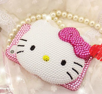 2 styles 3D Bling Bling High Quality Crystal Mirror Hello Kitty Cabochon DIY Cell phone Deco Kit for iphone 4, 5 case