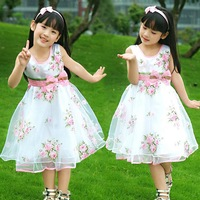 3 pcs/lot girls summer sleeveless flowers printed dress children fashion tank dress TZ0163